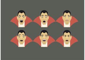 Conjunto de emoções do Dracula do vetor