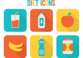 Ícones brilhantes do vetor da dieta