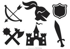 Ícones vetoriais medievais vetor