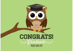 Cartão grátis do vetor da coruja da graduação