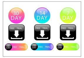 Colorido 30 dias de teste grátis conjunto de vetores de botão