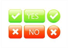 Conjunto de botões corretos incorretos