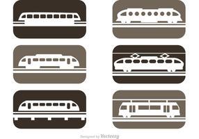 Ícones dos trens do trilho do vetor