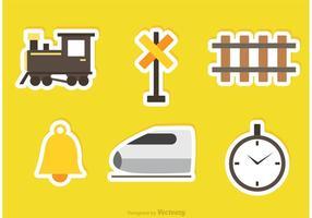 Ícones da etiqueta do vetor ferroviário