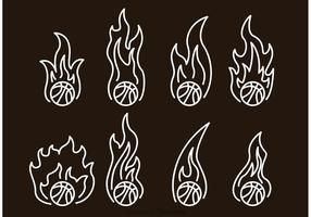 Ícones do esboço do basquetebol no fogo