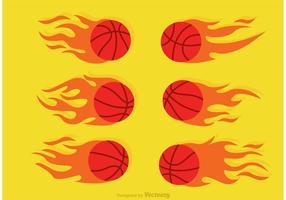 Vector de basquetebol em fogo