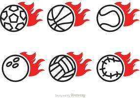 Ícones do vetor da bola do esporte flamejante