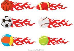 Esferas do esporte em vetores de fogo
