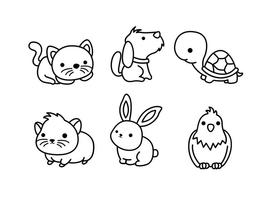 Cute Pets Setline Vector