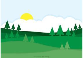 Green Rolling Hills Landscape Vector