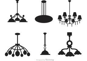 Conjunto de vetores de silhueta de lustre