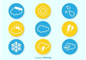 Ícones planos meteorológicos vetor
