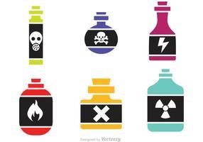 Ícones de vetor de garrafa de veneno