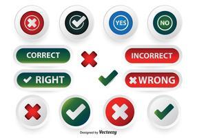 Conjunto de botões corretos incorretos vetor