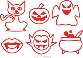 Ícones vermelhos do vetor do Dia das Bruxas