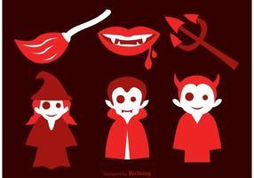 Ícones do vetor malvado do Dia das Bruxas