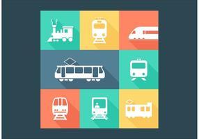 Ícones de vetor de transporte ferroviário gratuito