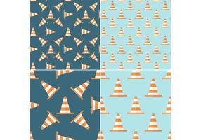 Padrões sem costura de Orange Traffic Cone Vector grátis