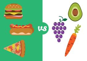 Alimentos saudáveis versus má comida vetor