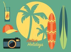 Ícones de verão da praia tropical vetor