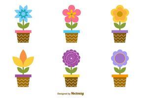 Potes de flores de desenho animado vetor