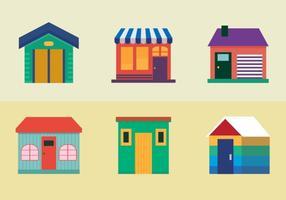 Ícones de casas coloridas vetor