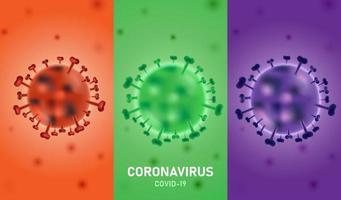 cartaz de infecção por coronavírus com três seções coloridas