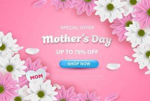 banner de web de venda de dia das mães rosa com flores