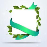 papel quadrado branco com folhagem e fita verde vetor