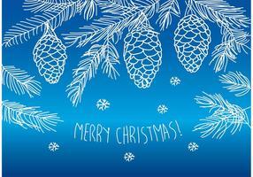 Pinos felizes de Natal desenhados à mão vetor