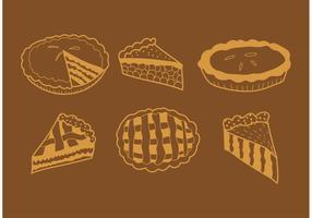 Vetores de torta de maçã desenhados à mão