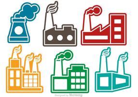 Ícones coloridos do vetor da fábrica