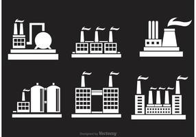 Ícones da fábrica Industrial Bulding vetor