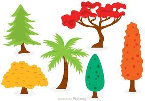 Conjunto de vetores de árvores de desenhos animados