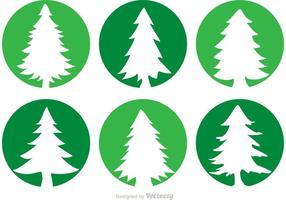 Ícones de vetor de círculo de cedro árvores