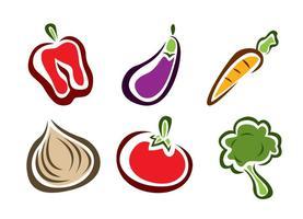 Ícones elegantes de alimentos vegetais vetor