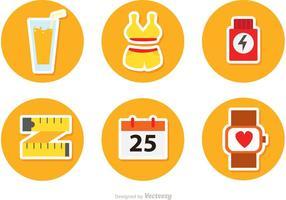 Ícones de vetor de estilo de vida saudável Circulr