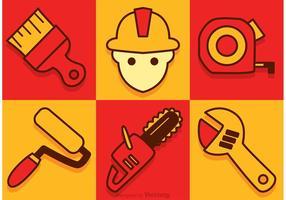 Ícones do equipamento do vetor da construção
