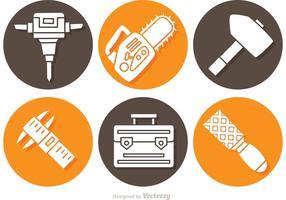 Ícones de construção de objetos e ferramentas vetor