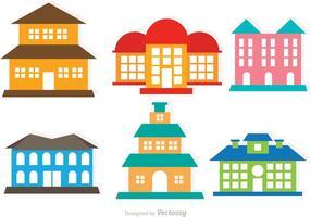 Conjunto de mansões de vetores coloridos e planos