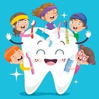 conceito de escovar os dentes com personagem de desenho animado vetor