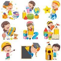 personagens de desenhos animados garoto fazendo várias atividades vetor