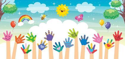 mãos pintadas de crianças vetor
