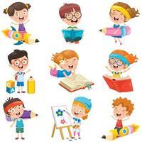 crianças fazendo atividades divertidas conjunto vetor