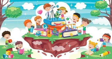 crianças dos desenhos animados na pilha de livros vetor