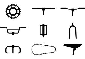 Ícones do vetor da parte da bicicleta