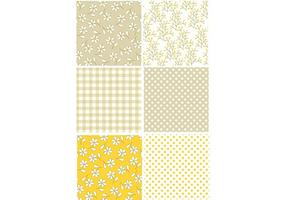 Conjunto de padrões retros amarelos vetor