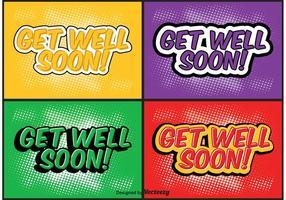 Comic Style Get Well Soon Conjunto de etiquetas vetor
