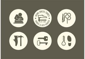 Ícones de vetor de sapato e chave de criação grátis