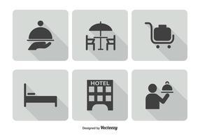 Conjunto de ícones do serviço do hotel vetor